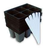Seedling Starter Trays, 144 Cells: (24 Trays; 6-cells Per Tray), Plus 5 Plant Labels by Industry Standard Grower's Supply