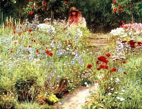 Many Flower favorites are revealed in this painting of a Victorian Cottage garden